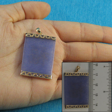 14k Yellow Solid Gold 25mm x 35mm Lavender Jade Board Pendant