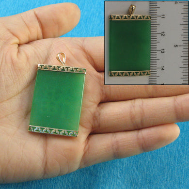 14k Yellow Solid Gold 25mm x 35mm Green Jade Board Pendant