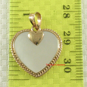 14k Yellow Solid Gold Heart in Love & Hearts Pendant White Mother of pearl