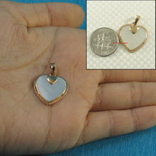 Load image into Gallery viewer, 14k Yellow Solid Gold Heart in Love & Hearts Pendant White Mother of pearl
