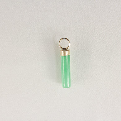 14k-Yellow-Gold-Hand-Carved-Tube-Green-Jade-Pendant-Necklace