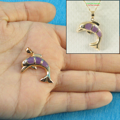Elegant & Beautiful Lavender Jade Hand Carved Dolphin 14k Solid Gold Pendant