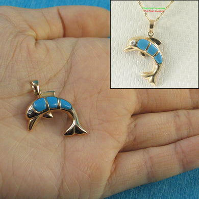 Elegant & Beautiful Turquoise Hand Carved Dolphin Unique Design Pendant 14k
