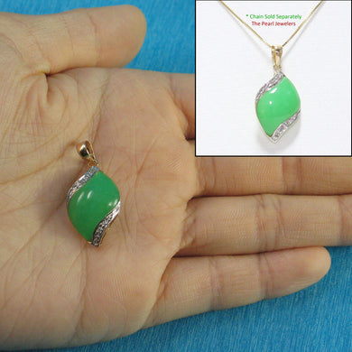 14k Solid Yellow Gold Diamonds S Shape Cabochon Green Jade Pendant Necklace