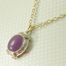Load image into Gallery viewer, Beautiful 14k Yellow Solid Gold Diamonds Oval Cabochon Lavender Jade Pendant