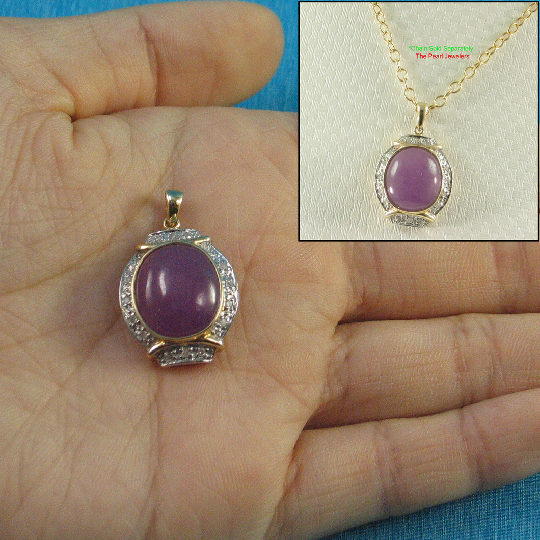 Beautiful 14k Yellow Solid Gold Diamonds Oval Cabochon Lavender Jade Pendant