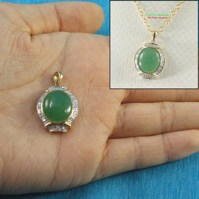 Beautiful 14k Yellow Solid Gold Diamonds & Cabochon Green Jade Pendant