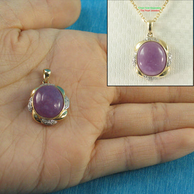 Unique 14k Solid Yellow Gold Oval Cabochon Cut Lavender Jade Pendant