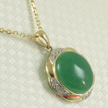 Load image into Gallery viewer, 2187703-Elegant-Beautiful-14k-Gold-Oval-Green-Diamond-Jade-Pendant-Necklace