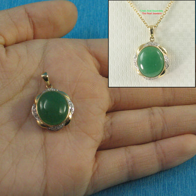 Elegant & Beautiful 14k Solid Yellow Gold Oval Cabochon Green Jade Pendant