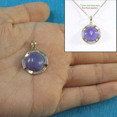 14k Solid Yellow Gold Two Tone 13mm Cabochon Lavender Jade Pendant