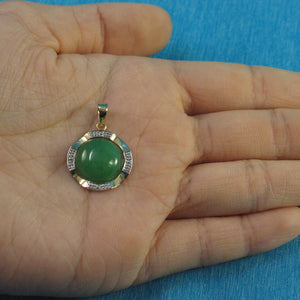 14k Solid Yellow Gold Two Tone 13mm Cabochon Green Jade Pendant Necklace