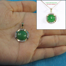 Load image into Gallery viewer, 14k Solid Yellow Gold Two Tone 13mm Cabochon Green Jade Pendant Necklace