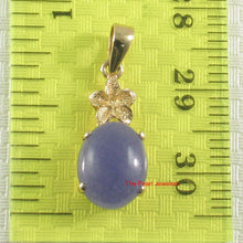 Load image into Gallery viewer, 14k Yellow Solid Gold Hawaiian Plumeria Cabochon Lavender Jade Pendant