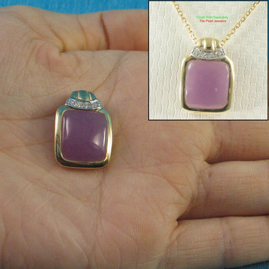 Unique 14k Solid Yellow Gold Diamond Cabochon Cut Lavender Jade Pendant