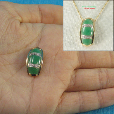 14k Solid Yellow Gold Sparkling Diamond Cabochon Green Jade Pendant