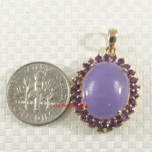 Load image into Gallery viewer, 2199802-14k-Gold-Cabochon-Lavender-Jade-Amethyst-Pendant-Necklace