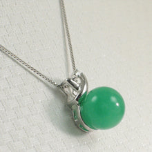 Load image into Gallery viewer, 2199888-14k-Solid-White-Gold-Diamonds-X-Design-Green-Jade-Pendant-Necklace