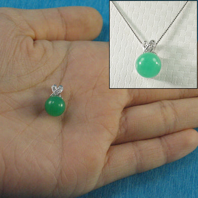 14k Solid White Gold Diamonds X Design Green Jade Pendant Necklace