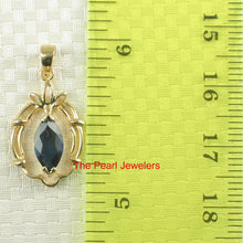 Load image into Gallery viewer, Genuine Marquise Cut Natural Blue Sapphire Pendant In 14k Yellow Solid Gold