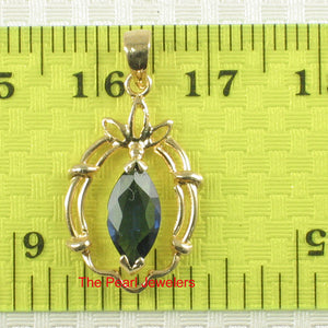 Genuine Marquise Cut Natural Blue Sapphire Pendant In 14k Yellow Solid Gold