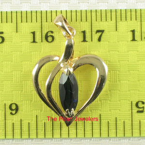 Genuine Marquise Cut Sapphire Heart Shaped Pendant In 14k Yellow Solid Gold