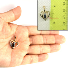 Load image into Gallery viewer, Genuine Marquise Cut Sapphire Heart Shaped Pendant In 14k Yellow Solid Gold