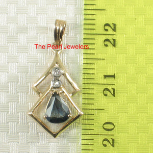 14k Yellow Solid Gold Genuine Diamond Pear Cut Natural Blue Sapphire Pendant