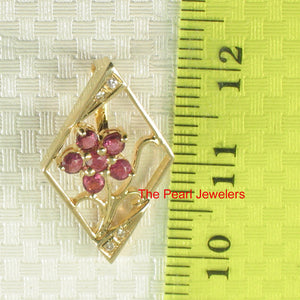 14k Yellow Solid Gold Unique Design Genuine Red Rubies & Diamonds Pendant