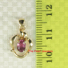 Load image into Gallery viewer, 14k Yellow Solid Gold Unique Design Pendant Oval Cut Genuine Red Ruby