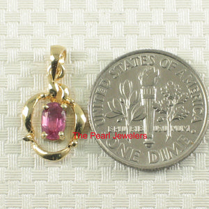 14k Yellow Solid Gold Unique Design Pendant Oval Cut Genuine Red Ruby