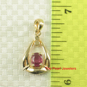 Genuine & Natural Red Ruby 14k Yellow Solid Gold Unique Design Pendant