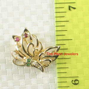 Genuine Gem Stones 14k Yellow Solid Gold Butterfly Unique Design Pendant