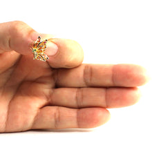 Load image into Gallery viewer, Genuine Gem Stones 14k Yellow Solid Gold Butterfly Unique Design Pendant