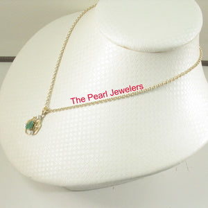 14k Yellow Solid Gold Unique Design Genuine Pear Emerald & Diamonds Pendant