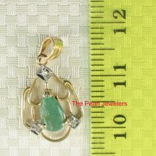 Load image into Gallery viewer, 14k Yellow Solid Gold Unique Design Genuine Pear Emerald & Diamonds Pendant