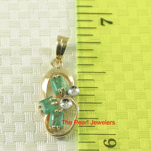 Unique Design Natural Green Emerald & Diamonds Pendant 14k Yellow Solid Gold