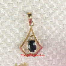 Load image into Gallery viewer, Genuine Natural Blue Oval Cut Sapphire Pendant In 14k Yellow Solid Gold