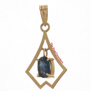 Genuine Natural Blue Oval Cut Sapphire Pendant In 14k Yellow Solid Gold