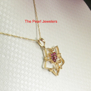 14k Yellow Solid Gold Star Design Genuine Natural Rubies & Diamonds Pendant