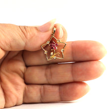 Load image into Gallery viewer, 14k Yellow Solid Gold Star Design Genuine Natural Rubies & Diamonds Pendant