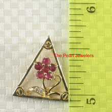 Load image into Gallery viewer, Genuine Natural Ruby; Diamond; 14k Yellow Solid Gold Triangle Design Pendant