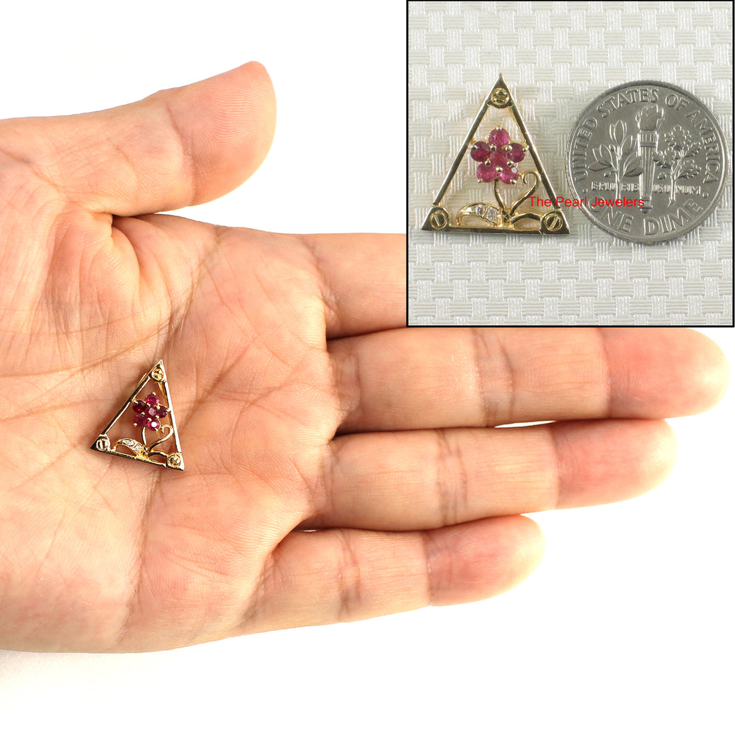 Genuine Natural Ruby; Diamond; 14k Yellow Solid Gold Triangle Design Pendant