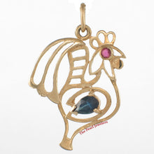 Load image into Gallery viewer, 14k Yellow Solid Gold Cock Design Pendant Genuine Pear Natural Blue Sapphire