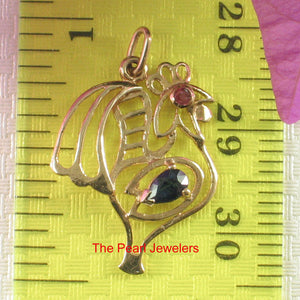 14k Yellow Solid Gold Cock Design Pendant Genuine Pear Natural Blue Sapphire