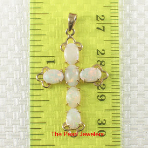 Prong Setting Genuine Australia Opal in 14k Yellow Gold Cross Design Pendant
