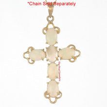Load image into Gallery viewer, Prong Setting Genuine Australia Opal in 14k Yellow Gold Cross Design Pendant