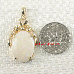 14k Yellow Solid Gold Oval Shaped Genuine Australia Opal Pendant