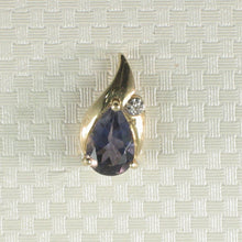 Load image into Gallery viewer, Vintage Style Pear Tanzanite Drop Pendant with Diamonds 14k Yellow Gold