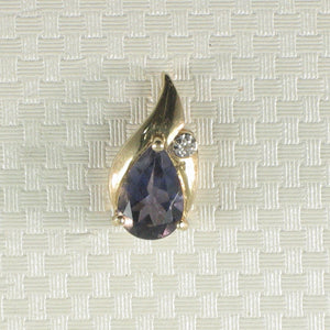 Vintage Style Pear Tanzanite Drop Pendant with Diamonds 14k Yellow Gold